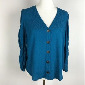Anthropologie Maeve Teal 3/4 Ruched Sleeve Top